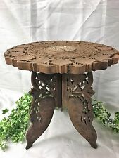Beautiful Vintage Indian Ornate Leaf Hand Carved Wooden Folding Tripod Table