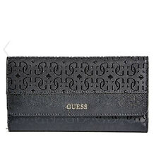 NWT GUESS Authentic Janette Logo Wallet Purse Slim Clutch Black