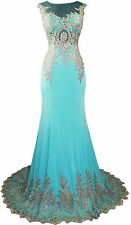 Women's Formal SHEER Embroidery Rhinestones beaded Long Evening Gown prom dress