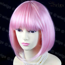 Cosplay Heat Resistant Pink Bob Style Short Ladies Wigs skin top from WIWIGS UK