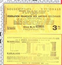 billet de3F souscription nationale federation francaise des anciens coloniaux