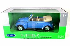 Welly VOLKSWAGEN BEETLE CONV BLUE 1/24  Diecast Car 22091W-LTBL