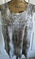 CHICO'S Snake Pattern Sequined Tank SZ 3  L/XL 16-18