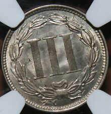 #~☆WOW!☆~ MS-64 1866 3 three cent nickel NGC CHEAPEST one on Ebay.  Awesome!!!