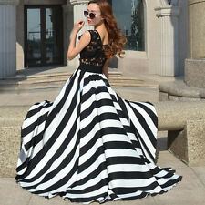 Women Summer Dress Geometric Style - Black & White - Size M