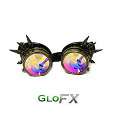 GloFX Brass Spike Rave Padded Kaleidoscope Goggles Burning Desert EDM Steampunk