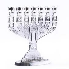 Silver Jerusalem Candle Holder Judaica Ornament 7 Branch Menorah Hanukkah Gift