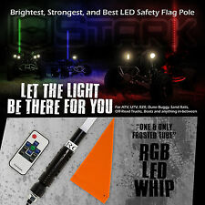 """60"""" 5FT RGB Frost Tube 5050 LED Light Whip Quick Release Remote Offroad 1Pc (A)"""