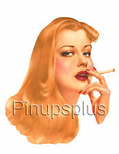 Sultry Smoking Hot Vintage Pin-up Girl Waterslide Decal Sticker For Guitars S130