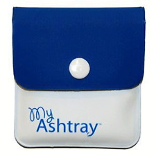 My Ashtray Blue and White Pocket Ashtray Portable Reusable Fireproof Lining