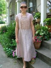 GARDEN PARTY Dress MAD MEN 50s 60s Pink Lace flair skirt Beaded accents