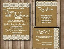25 Burlap Lace Wedding invitations RSVP and Reception cards
