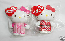 "SANRIO Hello Kitty Cake Topper 3"" inch Pink Red Ribbon Cupcake BOTH TOPPERS NEW"
