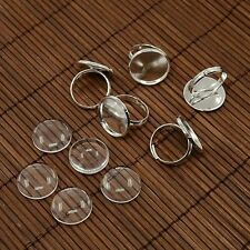 5sets Brass Pad Ring Bases Glass Cabochons DIY Jewelry Making Silver DIY-X0130-S