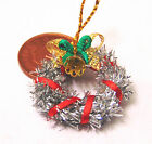 1:12 Decorated Silver & Red Christmas Wreath Dolls House Miniature Accessory HWs