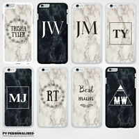 MARBLE INITIALS PERSONALISED CUSTOM HARD BACK PHONE CASE COVER FOR APPLE IPHONE
