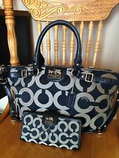 COACH MADISON EXOTIC SOPHIA OP ART SATCHEL BAG F18650 & MATCHING WALLET MSRP$506