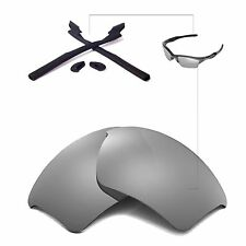 New WL Polarized Titanium Lenses+Black Rubber Kit For Oakley Half Jacket 2.0 XL