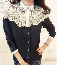 Women Cape-style lace Blouses Shirt Spring Autumn Long Sleeve Tops Navy Blue L