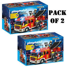 """Pack of 2 Playmobil 5363 Fire Engine with Lights & Sound Set """"Race to the Scene"""""""
