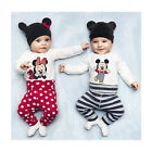 3pcs Baby Boy Girls Kids Romper Bodysuit Jumpsuit Cap Top+Pants+Hat Clothing Set