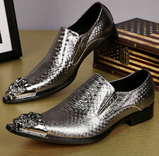 Korean Gold Silver Chic Slip on Mens Metal Pointy Toe Dress Formal Groom Shoes