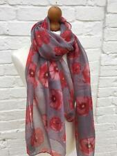 Ladies Red Grey Poppies Poppy Floral Scarf Remembrance Day Heroes