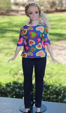 "Clothes for Curvy Barbie Doll. Shirt ""Hearts"" print and leggings for Dolls."