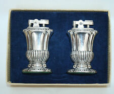 """Vintage Silverplate Ronson """"MAYFAIR"""" Table Lighters in Working Condition in box"""