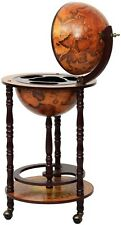 New 17in Wood Globe Wine Bar Stand 16th Century Italian Liquor Bottle Shelf Rack