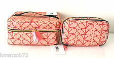 ORLA KIELY Sweet Pea Orange Train Case & Double Zip Makeup Beauty Travel Bag Set