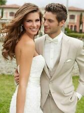 CUSTOM MADE LIGHT BEIGE GROOM TUXEDO BESPOKE BEIGE WEDDING SUITS FOR MEN