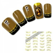 NB220 NAGELSTICKER water transfer goldene Muster FRENCH STYLE Tattoo Aufkleber F
