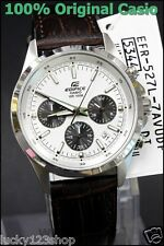 EFR-527L-7A White Casio Men's Watches Edifice Chronograph 100M Date Leather Band