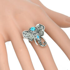 Bohemian Boho Fashion Vintage Turquoise Blue Elephant Antique Silver Ring