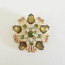 New Olive Green Clear Double Oval Flower Good Fortune Crystals Brooch Pin B1422