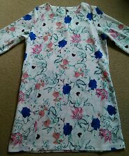 SEXY DARLING WHITE BRIGHT TUNIC STYLE PINK BLUE FLOWER PRINT SHORT DRESS 12 14