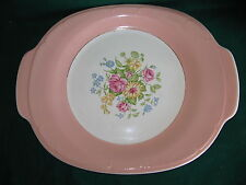 FRENCH SAXON CHINA CO.  CORAL BOUQUET  HANDLED CAKE PLATE