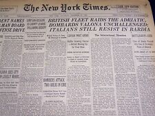 1940 DECEMBER 21 NEW YORK TIMES - BRITISH FLEET RAIDS ADRIATIC - NT 2538