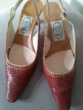 EMMA HOPE NET-A-PORTER BORDO & CAMEL WOVEN LEATHER SLING BACK SHOES 39 UK 6