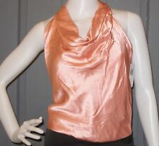 NWT $136 womens SINGLE coral 100% SILK halter top sz 2 drape neck NEW