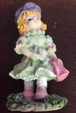 "3"" Ceramic Girl In Green Dress, Pink Shoes, Purple Hat Figurine - Preowned"