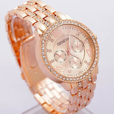 Geneva Women Stainless Steel Rose Gold Crystal Wrist Watch Bracelet Decor