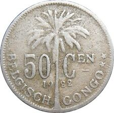 Belgian Congo Belge 50 Centimes 1922 KM#23 Albert I - Dutch text (3803)