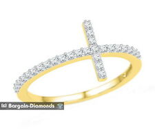 diamond .20 carats Christian cross ring 10K gold faith protection love modern