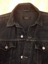 Next Mens Dark Marine Blue Denim Large Jacket Western Vintage Trucker Cowboy