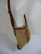 LUCKY BRAND Boho Cotton Crochet Leather Crossbody Tote Shoulder Bag