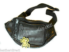 NEW SOFT REAL LEATHER BUM BAG WAIST TRAVEL POUCH PASSPORT MONEY WALLET BLACK