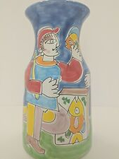 La Musa - Italy Pottery Vase Fish and People