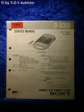 Sony Service Manual D 5000 CD Player (#0151)
